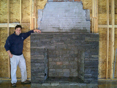 Custom rock fireplace in a new home